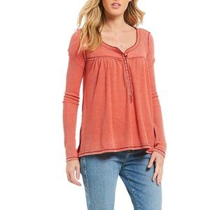 We the Free red bleached Kai henley top medium